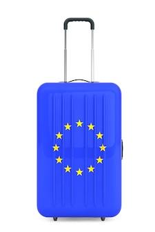 Reisen sie zum konzept der europäischen union. koffer mit flagge der europäischen union auf weißem hintergrund. 3