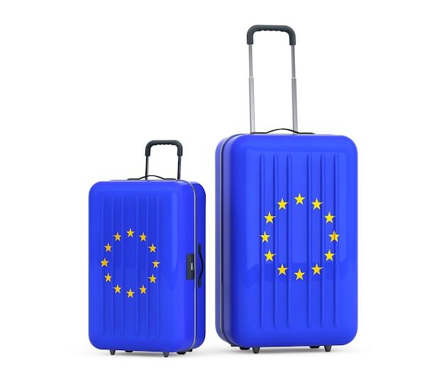 Reisen sie zum konzept der europäischen union. koffer mit flagge der europäischen union auf weißem hintergrund.