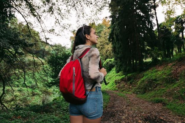 Reisende frau mit rucksack, der im wald geht