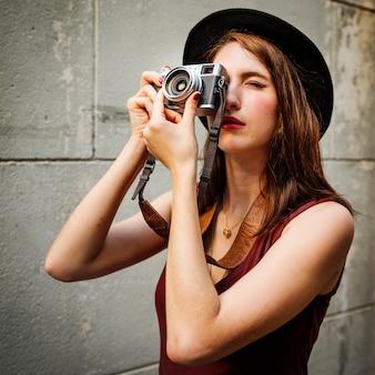 Reisender-fotografieren sie reise-touristische mädchen-dame concept