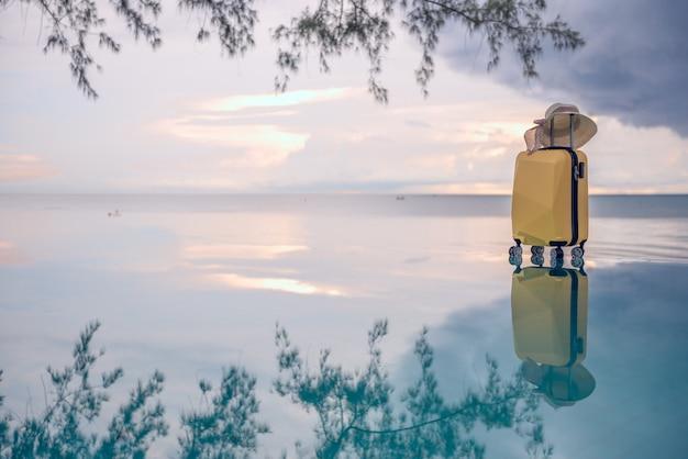 Reisender koffer mit hut auf dem strand und der niederlassung des baums.