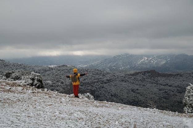 Reisender mann auf dem berg, der die luftaufnahme mit erhobenen armen genießt