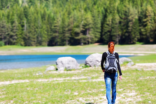 Reisender vor seeblick und bergen