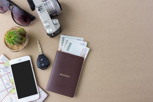Reisendzubehör mit kopienraum in der draufsicht