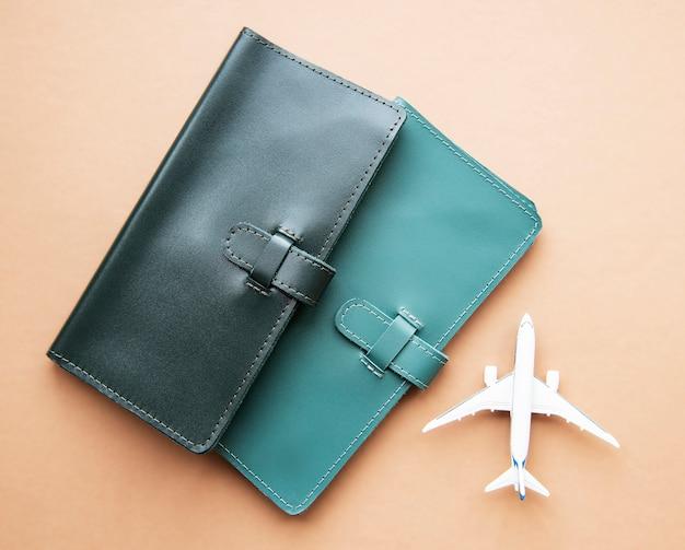 Reisetaschen aus grünem leder