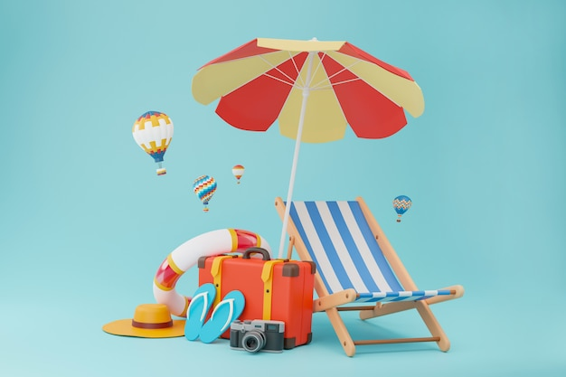 Reisetaschen für den tourismus komplett mit hausschuhen, kamera, stühlen und sonnenschirmen.