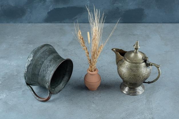 Reispflanze mit metallischem wasserkocher auf blauem grund. foto in hoher qualität
