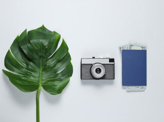 Reiste minimalistisches stillleben. monstera-blatt, retro-kamera, pass mit dollarnoten auf weißem hintergrund. draufsicht