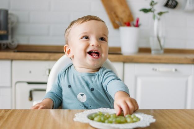 Reizend glückliches kleines baby, das zu hause erste lebensmittelgrüntraube an der hellen küche isst
