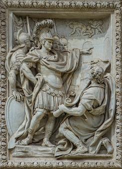 Relief von marcus vipsanius agrippa besichtigungspläne für den bau des acqua vergine-aquädukts am trevi-brunnen in rom, italien