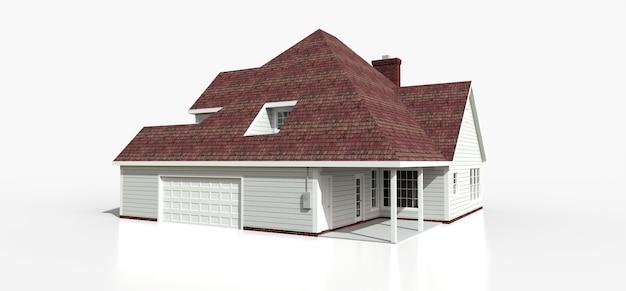 Render eines klassischen amerikanischen landhauses. 3d-illustration.