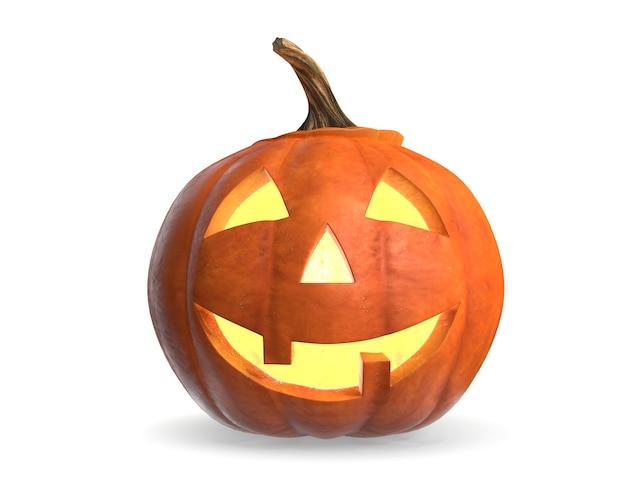 Render of scary halloween pumpkin head isoliert jackolantern