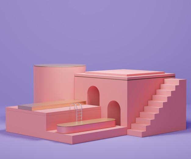 Render-szene der minimalen podiums-szene für display-produkte und kosmetische werbung