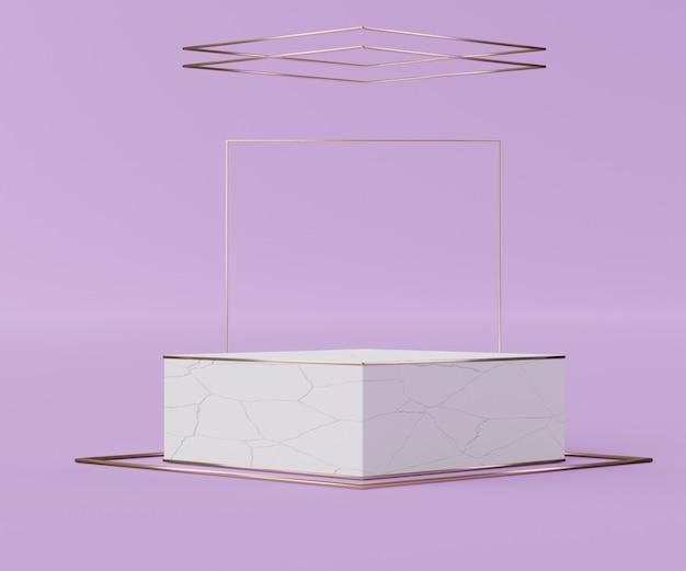 Render-szene der white box cracked podium-szene für display-produkte und kosmetische werbung