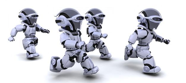 Render von robotern in einem rennen 3d im wettbewerb