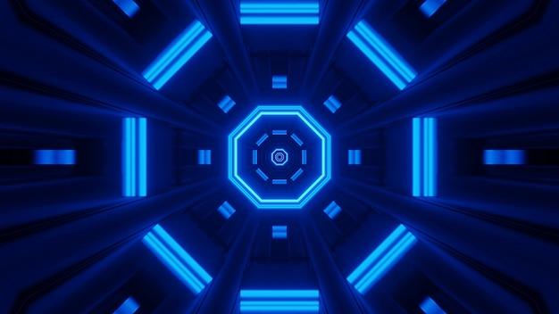 Rendering abstrakten futuristischen hintergrund mit einem leuchtenden neonblauen licht