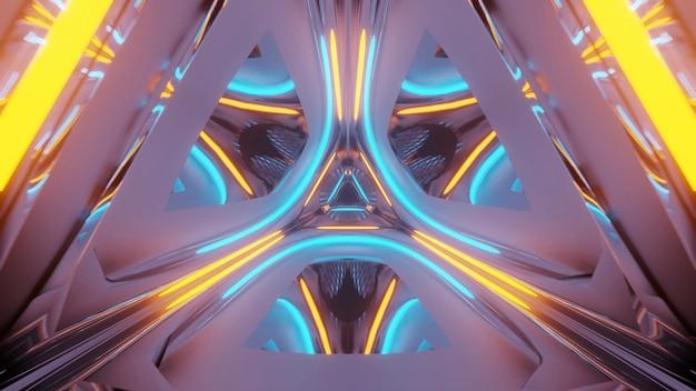 Rendering abstrakten futuristischen hintergrund mit einem leuchtenden neonlicht