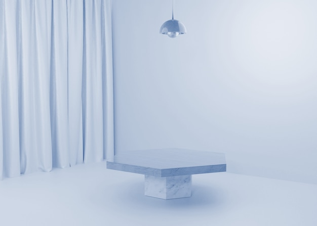Rendering blue pastel display podium produktstand