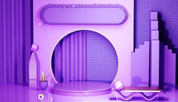 Rendering der abstrakten lila geometrischen plattform mit kreisförmigem podium für standprodukt