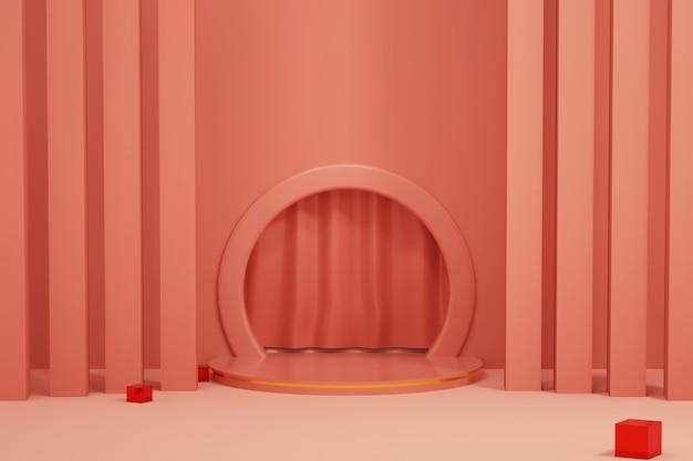 Rendering der abstrakten plattform mit kreisförmigem sockel zur präsentation des standprodukts