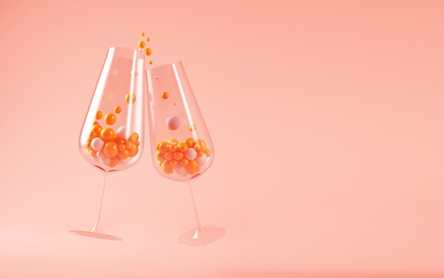 Rendering der champagnergläser 3d