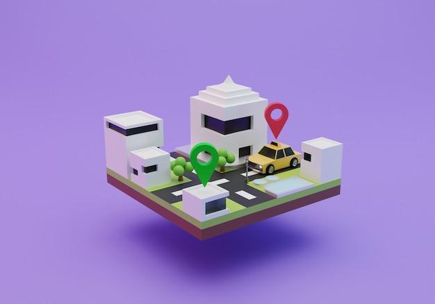 Rendering der isometrischen online-taxiillustration 3d