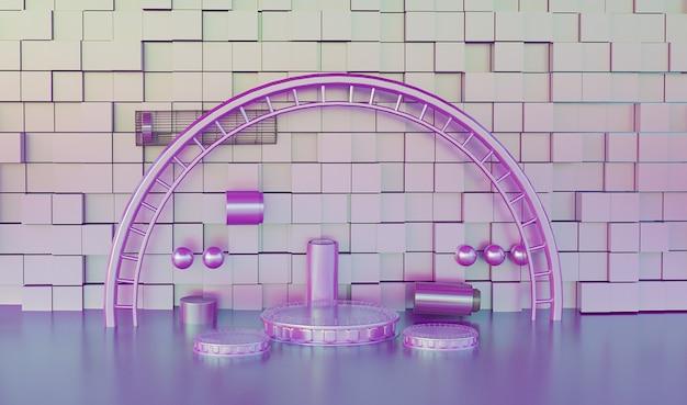 Rendering der romantischen lila plattform mit sockel für standprodukt