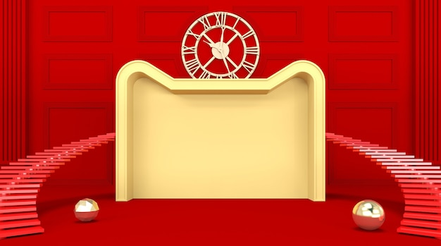 Rendering der roten plattform podium produktanzeige leer mit brett