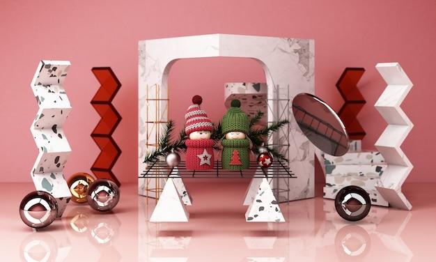 Rendering der weihnachtsdekoration 3d