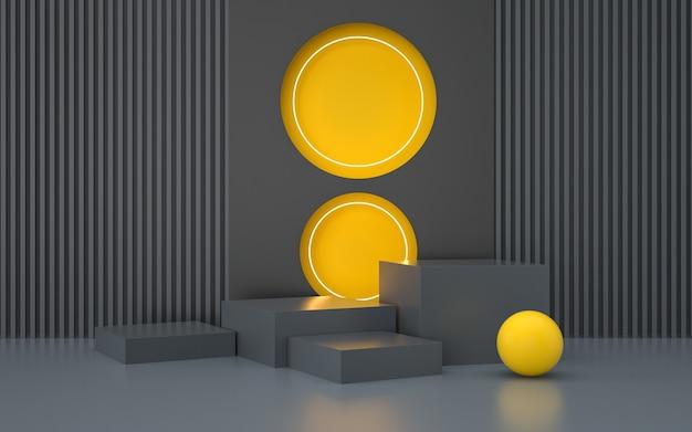 Rendering des abstrakten geometrischen bühnenhintergrunds mit sockel für produktstand