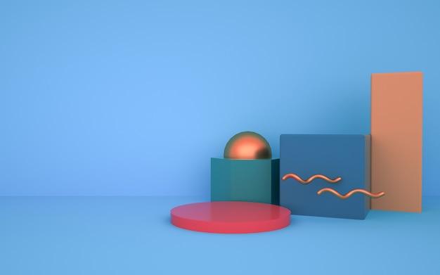 Rendering des abstrakten geometrischen formhintergrunds für produktstand