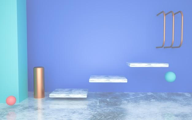 Rendering des abstrakten geometrischen formhintergrunds mit einer schwebenden leiter für produktstand
