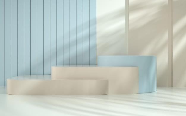 Rendering des abstrakten geometrischen formhintergrunds mit rechteckigem podium für produktanzeige