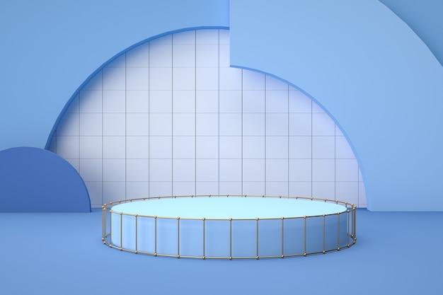 Rendering des blauen kreisförmigen podiums produktanzeige leer