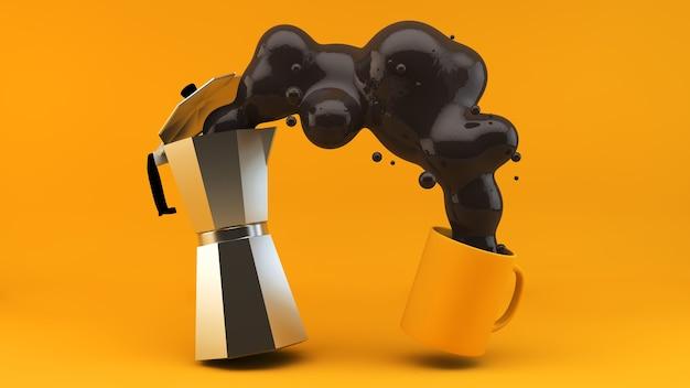 Rendering des kaffee-servierkonzepts 3d