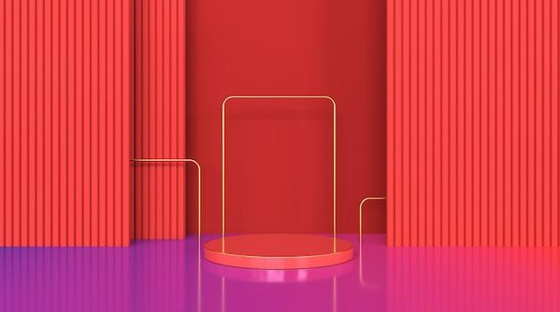Rendering einer geometrischen plattform in roter form für die anzeige von standprodukten Premium Fotos