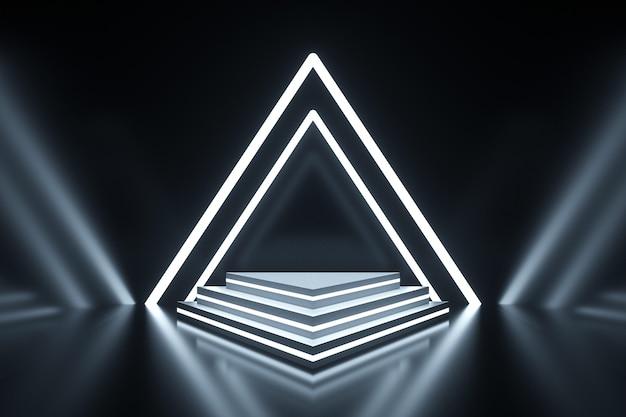 Rendering eines dreieckigen weißen weißen lichts auf dem podium für ein display-modell