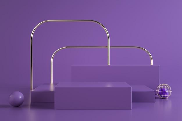 Rendering eines rechteckigen podiums mit lila für standanzeige
