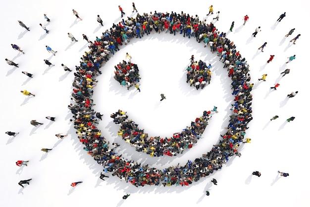 Rendering eines smiley-gesichts, das von gruppen von menschen gebildet wird