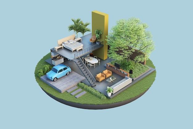 Rendering grundrisse architektur und innendekoration