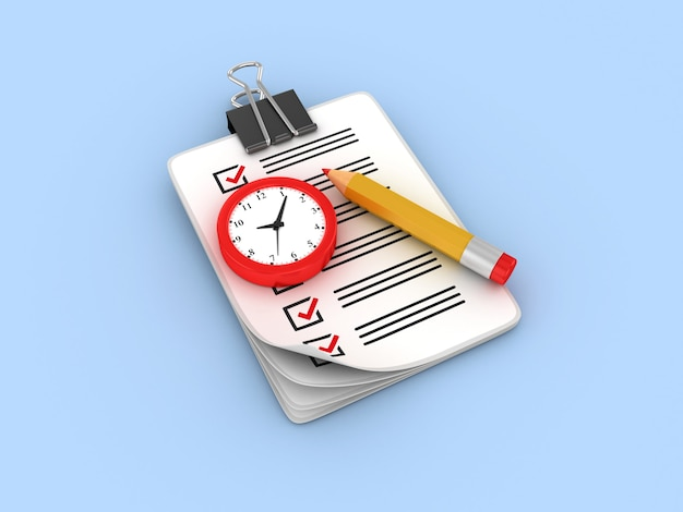 Rendering illustration der uhr checkliste zwischenablage