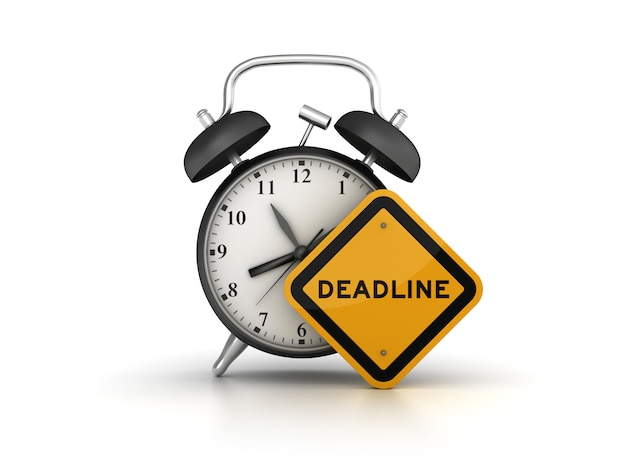 Rendering illustration der uhr mit deadline road sign