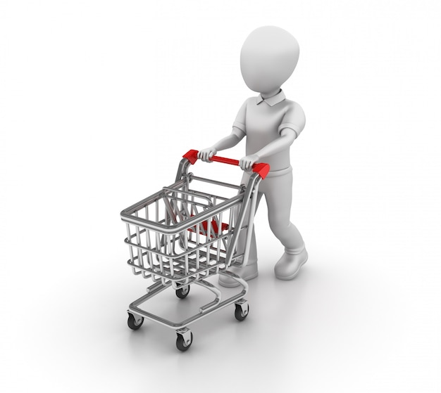 Rendering illustration der zeichentrickfigur mit einkaufswagen