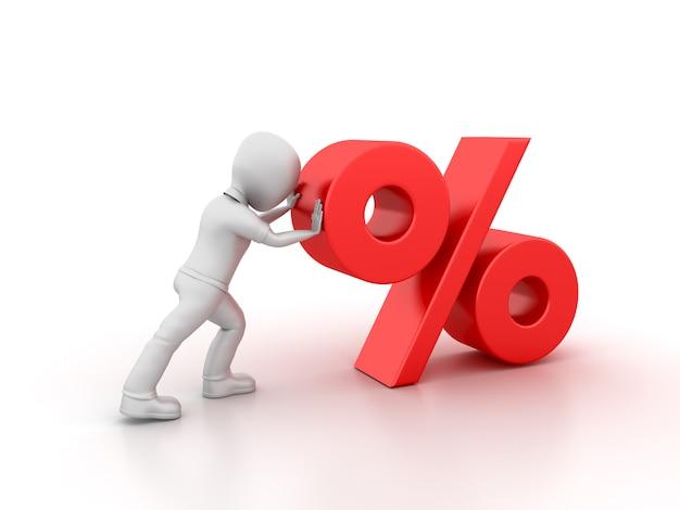 Rendering illustration des cartoon business character pushing percentage symbol