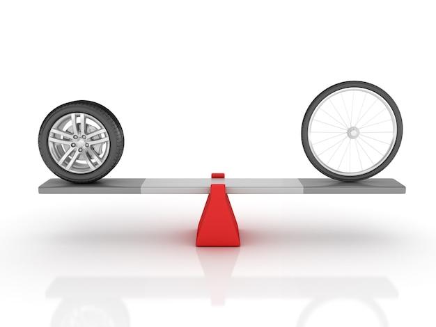 Rendering illustration von auto- und fahrradrädern, die auf einer wippe balancieren