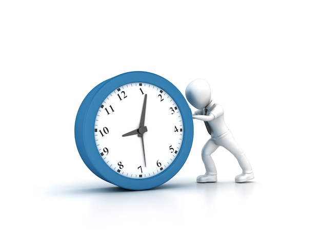 Rendering illustration von cartoon business person pushing clock
