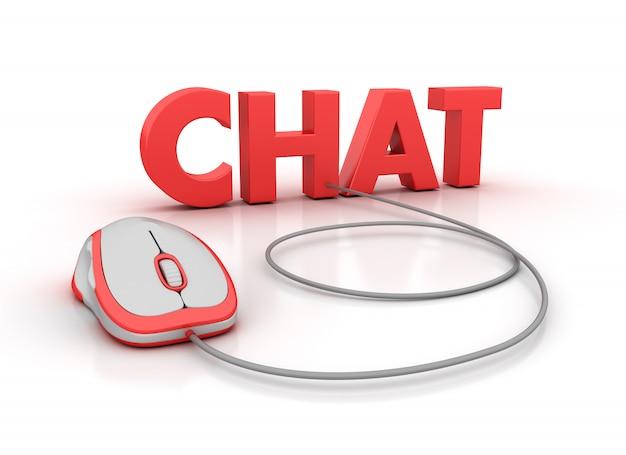 Rendering illustration von chat word mit computermaus
