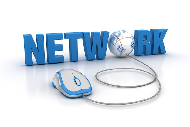 Rendering illustration von network word mit computer mouse und globe world