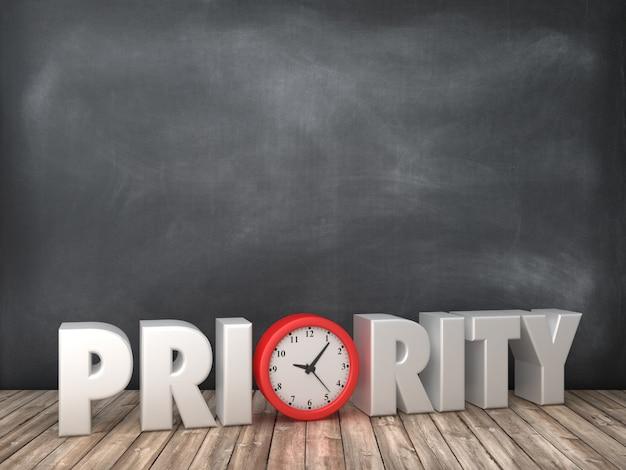 Rendering illustration von priority word mit uhr auf tafel