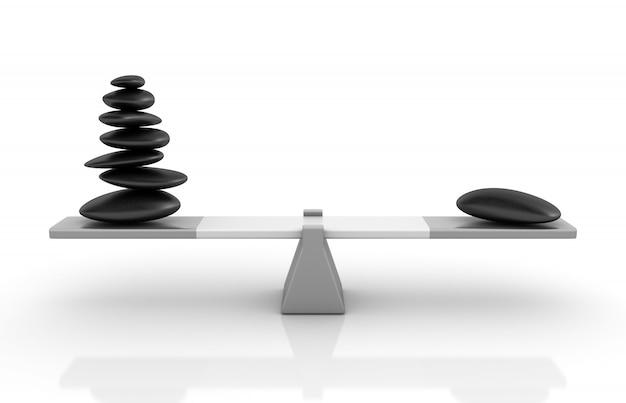 Rendering illustration von steinen, die auf einer wippe balancieren